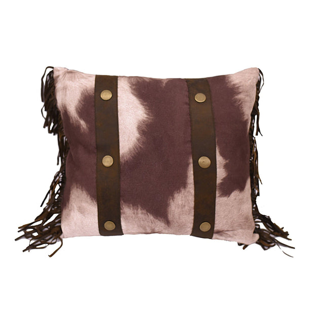 "Cowhide Studded Accent Pillow w/ Fringe, 15"" x 18"""