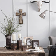 Cream Distressed Wood & Barbwire Cross Wall Decor