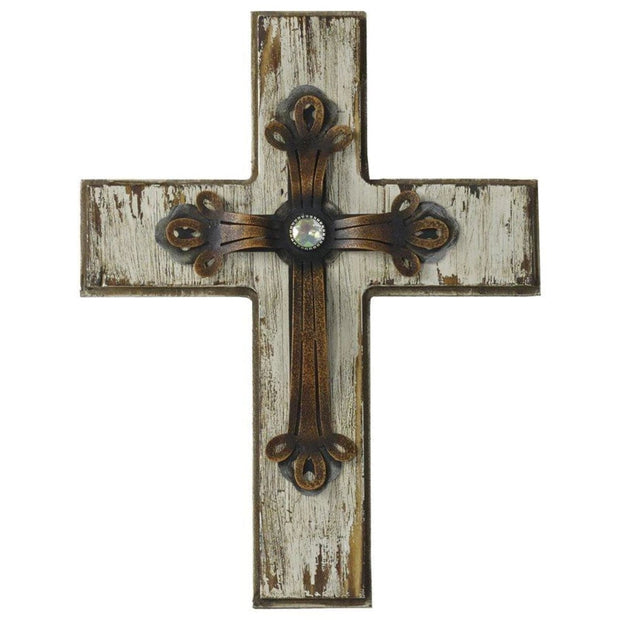 Cream Wood Cross Wall Decor w/ Antique Metal Overlay