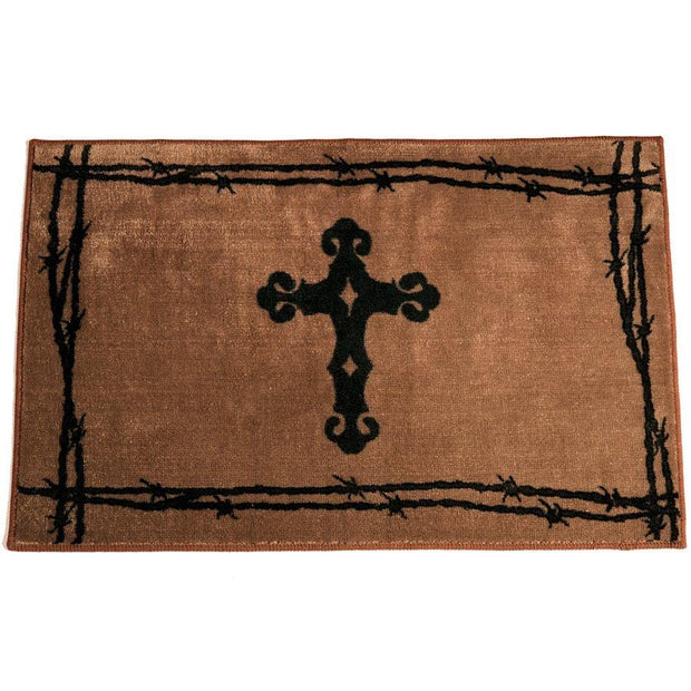 Cross w/ Barbwire Motif Kitchen/Bath Rug - Chocolate