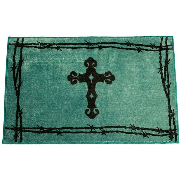 Cross w/ Barbwire Motif Kitchen/Bath Rug - Turquoise