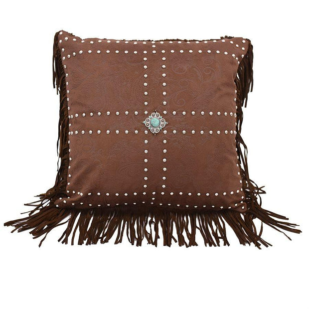 Demask Faux Leather Throw Pillow w/ Concho & Studs