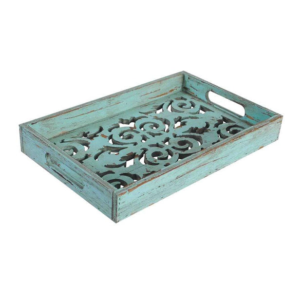 Decorative Scroll Carved Turquoise Wooden Tray