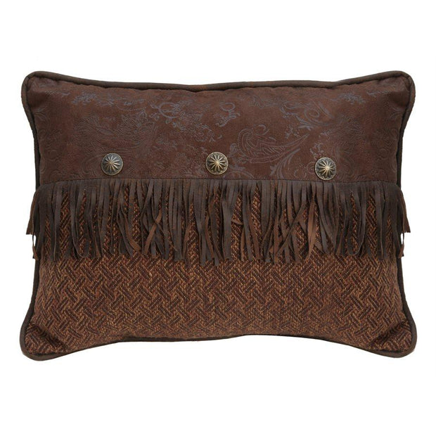 Del Rio Chocolate Faux Leather Pillow w/ Concho, 16x21