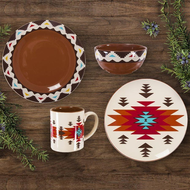 Del Sol Aztec 19-PC Dinnerware and Canister Set