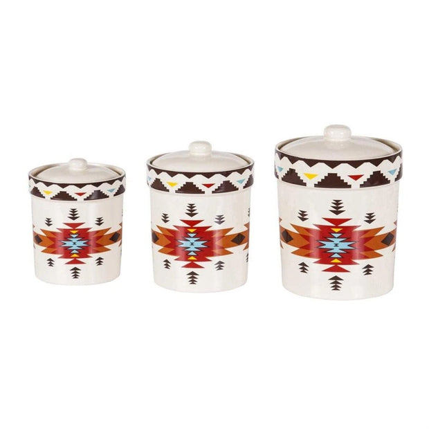 Del Sol Aztec 3 Pc Kitchen Canister Set Hiend Accents