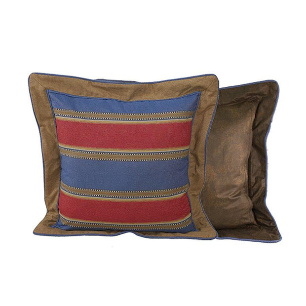 Denim Euro Sham, Red/Blue