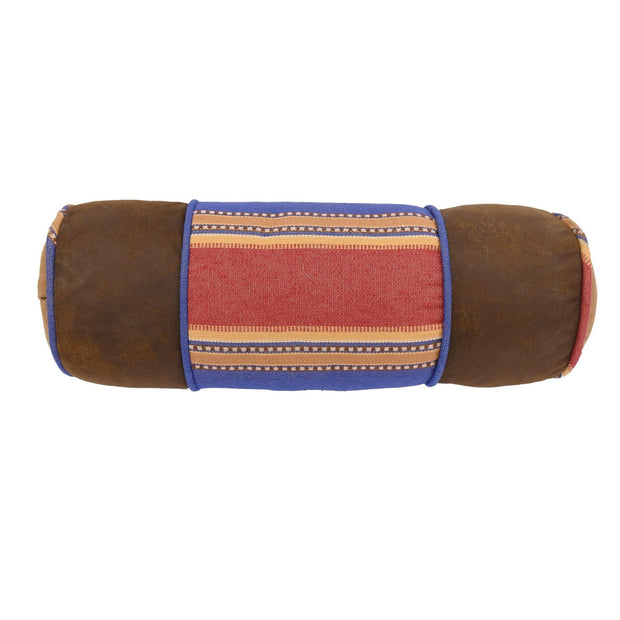 "Denim Red & Blue Neckroll Pillow, 8"" x 21"""