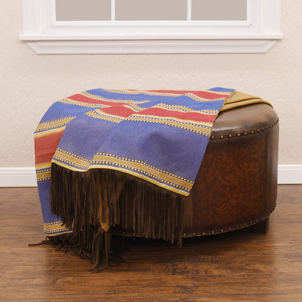 Denim Red & Blue Striped Throw Blanket, 50x60