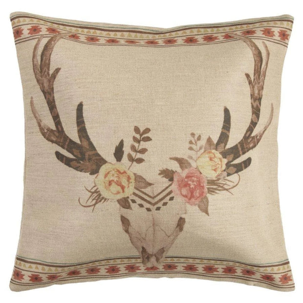 Desert Skull Burlap Throw Pillow w/ Flowers