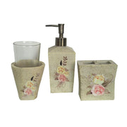 Desert Skull Rose Floral 3-PC Bath Countertop Accessory Set