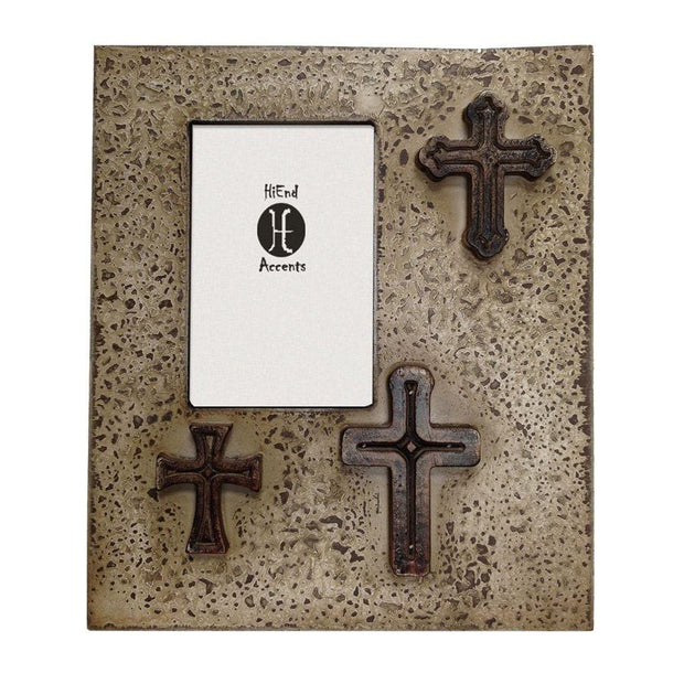 Distressed 3-Crosses Picture Frame, 4x6 - Cream