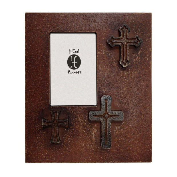 Distressed 3-Crosses Picture Frame, 4x6 - Red