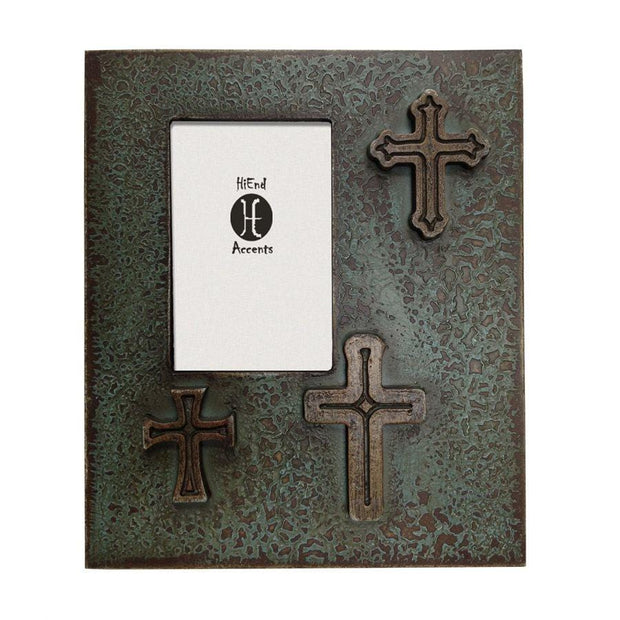 Distressed 3-Crosses Picture Frame, 4x6 - Turquoise