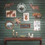 Distressed Moose Rustic Lodge Wall Decor