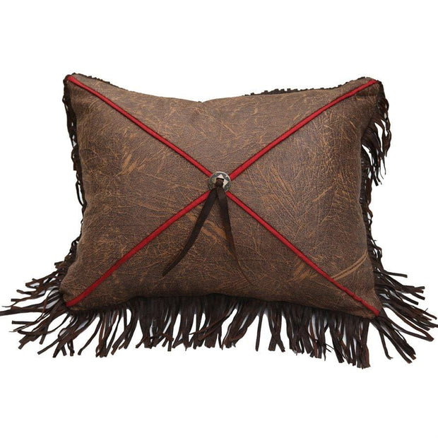 Distressed Tobacco X Design Pillow, Red Piping