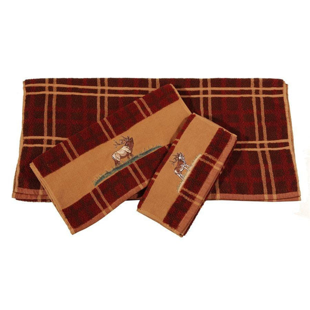 Elk Embroidered 3-PC Bath Towel Set, Plaid