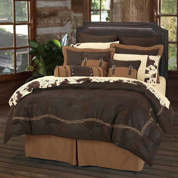Embroidered Barbwire 7-PC Comforter Set - Chocolate
