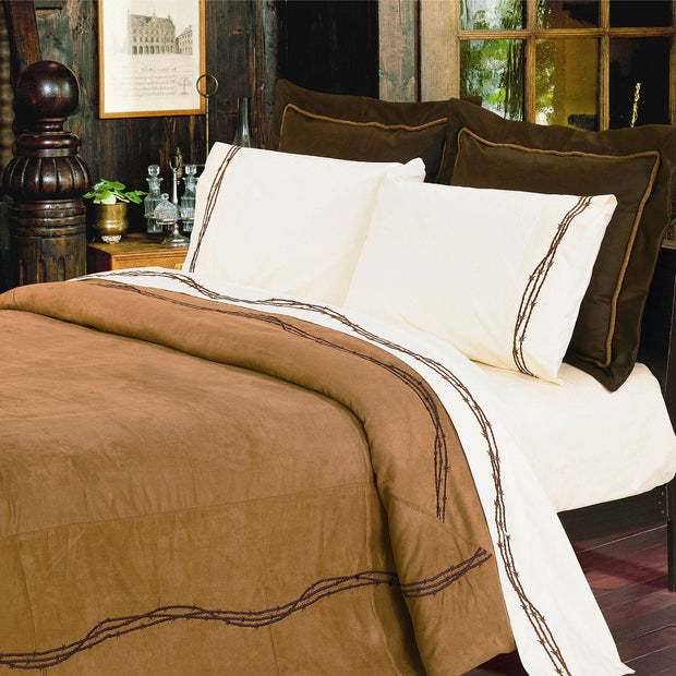 Embroidered Barbwire 7-PC Comforter Set - Tan