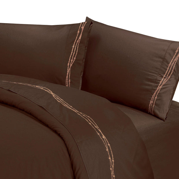 Embroidered Barbwire Sheet Set, Chocolate, Cream