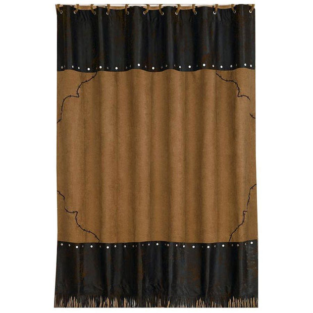 Embroidered Barbwire Shower Curtain, Tan & Chocolate