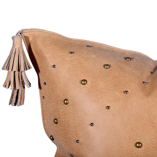 English Tan (Genuine) Leather Hide Throw Pillow w/ Tassels, 20x20