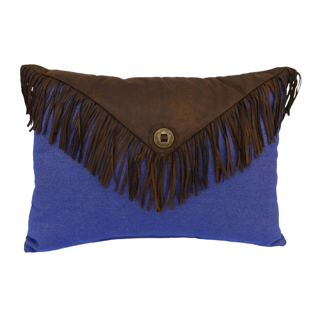 "Denim Envelope Fringe Pillow, 16"" x 21"""