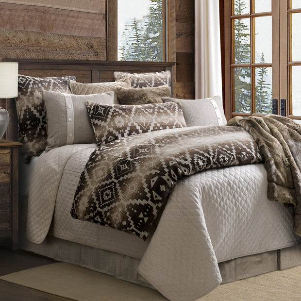 Fairfield Quilted Linen & Velvet Coverlet Set, Taupe
