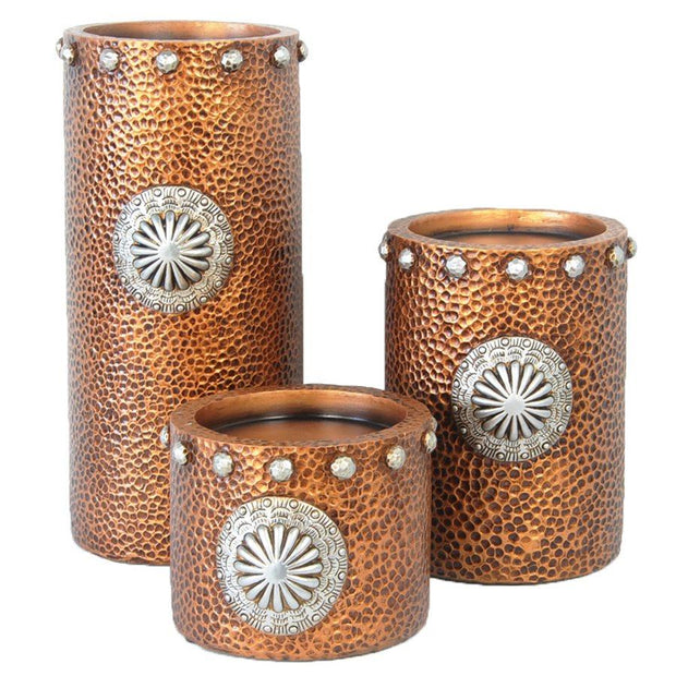 Faux Hammered Copper w/ Concho Candle Holder (3-PC Set)