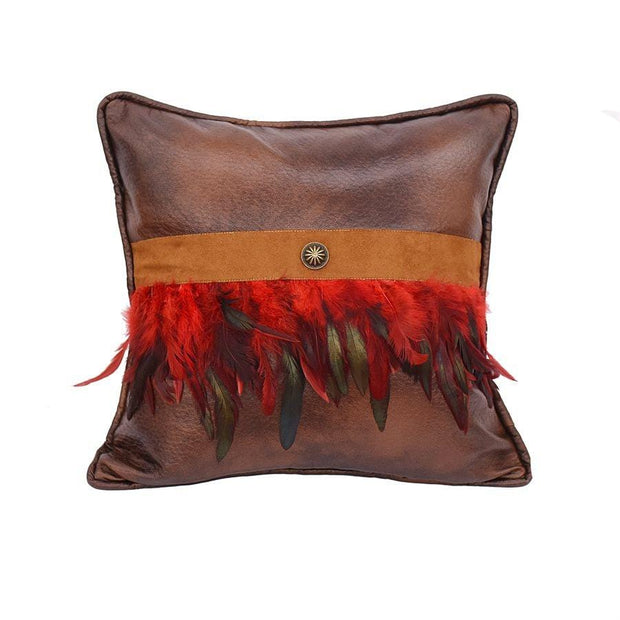 Faux Leather Throw Pillow w/ Red Feathers & Concho