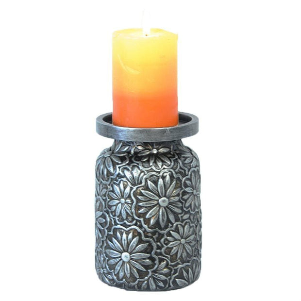 Faux Metal Embossed Flower Pillar Candle Holder