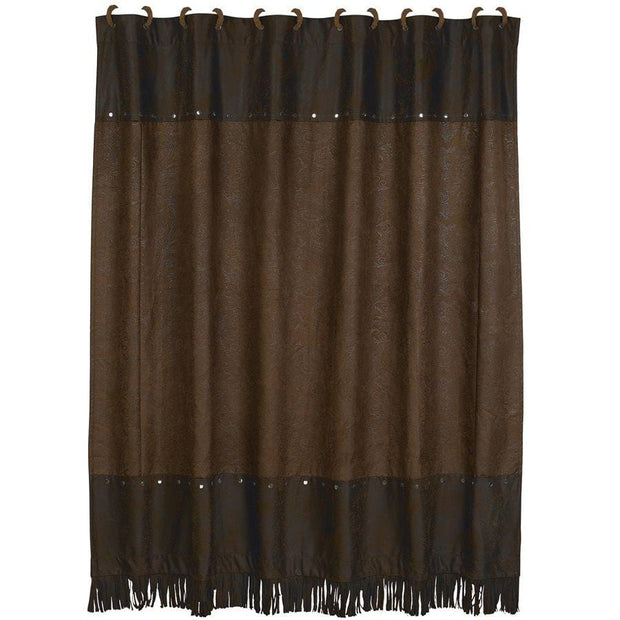 Faux Tooled Leather Shower Curtain, Chocolate