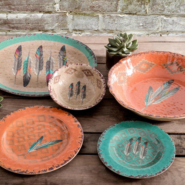 Feather Southwestern 14-PC Melamine Dinnerware Set