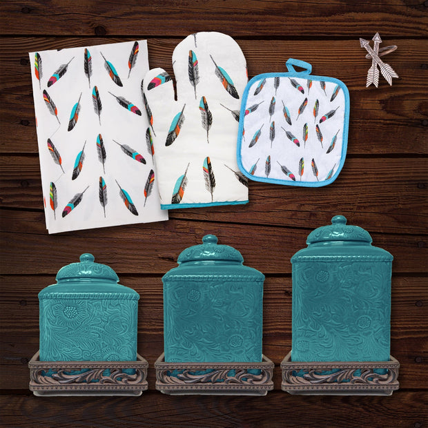 Tossed Feather Print and Savannah Turquoise 22 PC Set