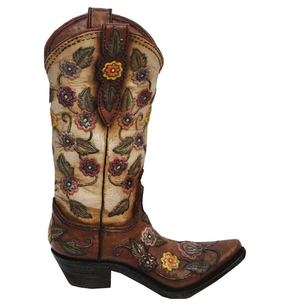 Flower Design Cowboy Boot Vase, Cream & Brown