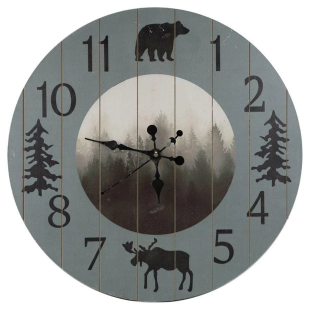 Foggy Forest Rustic Lodge Wall Clock