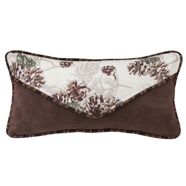 Forest Pine Envelope Pillow w/ Frosted Winter Pine Cones