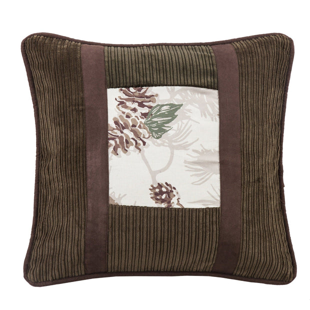Forest Pine Pinecone Throw Pillow w/ Corduroy Detail