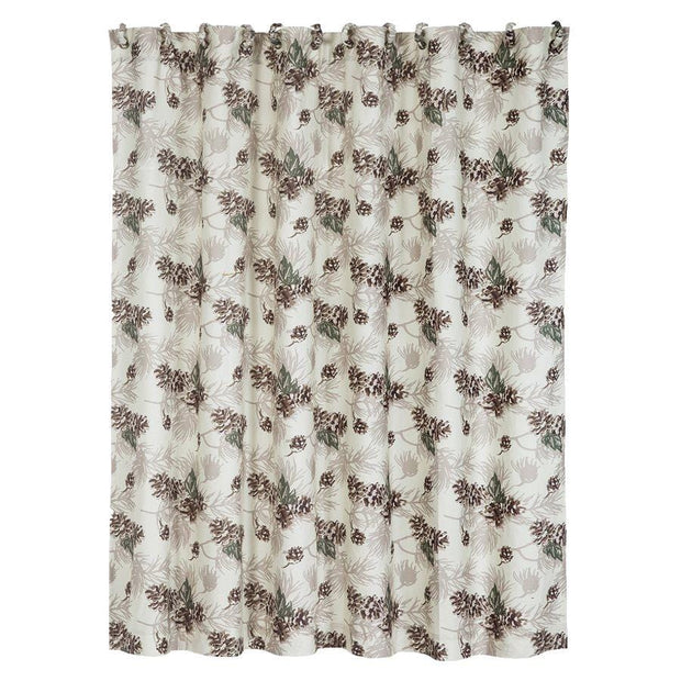 Forest Pines Shower Curtain - Beige, Brown & Green