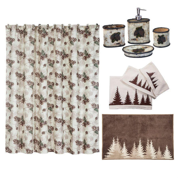 Birch Pinecone 8-PC Bath Accessary and Clearwater Pines Towel Set