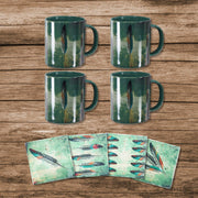 Tossed Feather Bohemian Mug and Coaster 8 PC Set