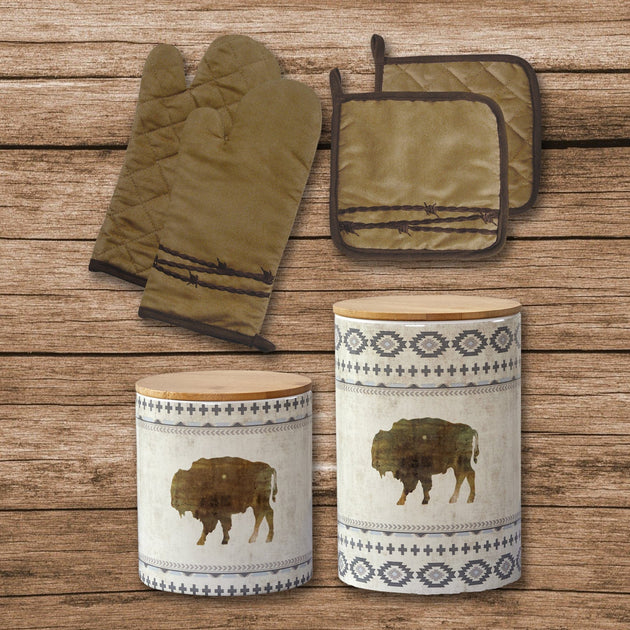 Barbwire Print And Free Spirit Canister 6 Pc Set Hiend Accents