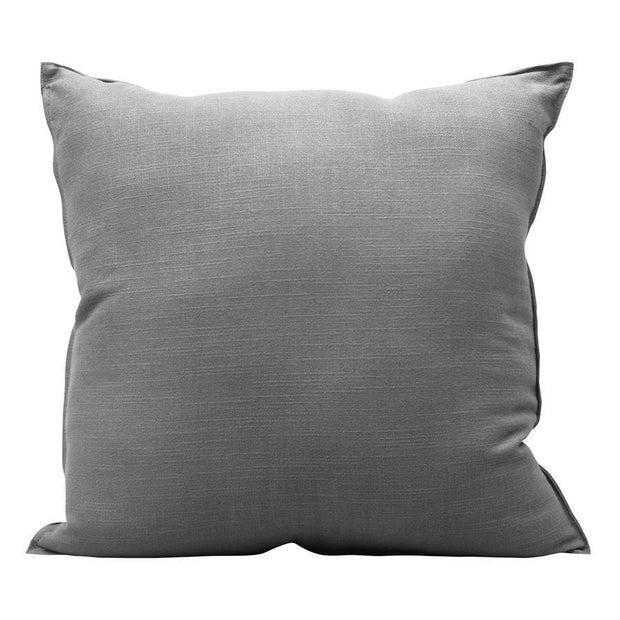 Gray (Genuine) Leather Geometric Studded Throw Pillow, 20x20
