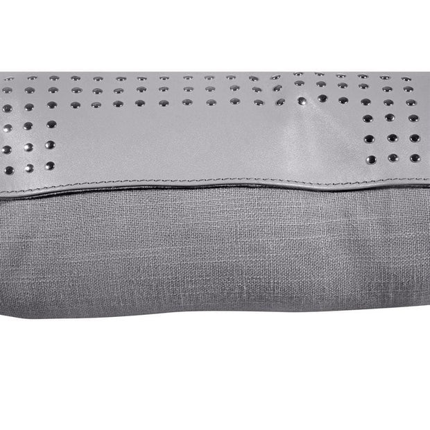 Gray (Genuine) Leather Geometric Studded Throw Pillow