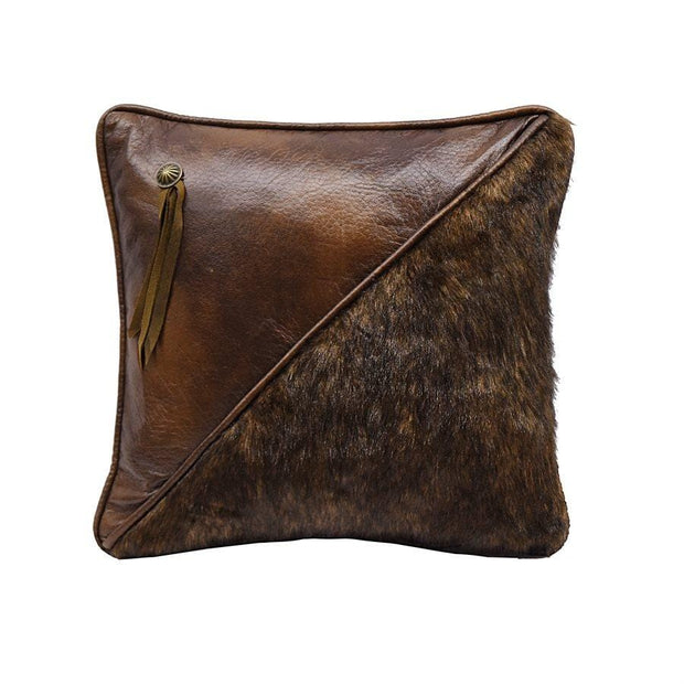 Half Faux Fur & Faux Leather Throw Pillow
