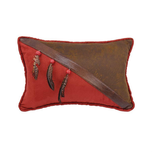 Half Red & Brown Faux Leather Pillow w/ Beads & Feathers