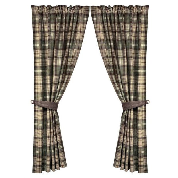 Huntsman Curtains w/ Brown, Cream & Green Plaid (PAIR)