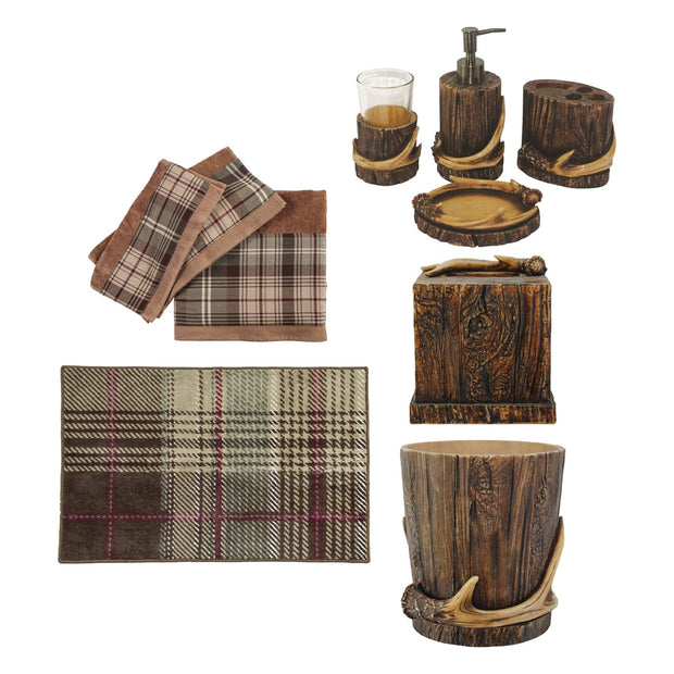 Antler 10 PC Bath Accessary and Forest Pines Towel Set