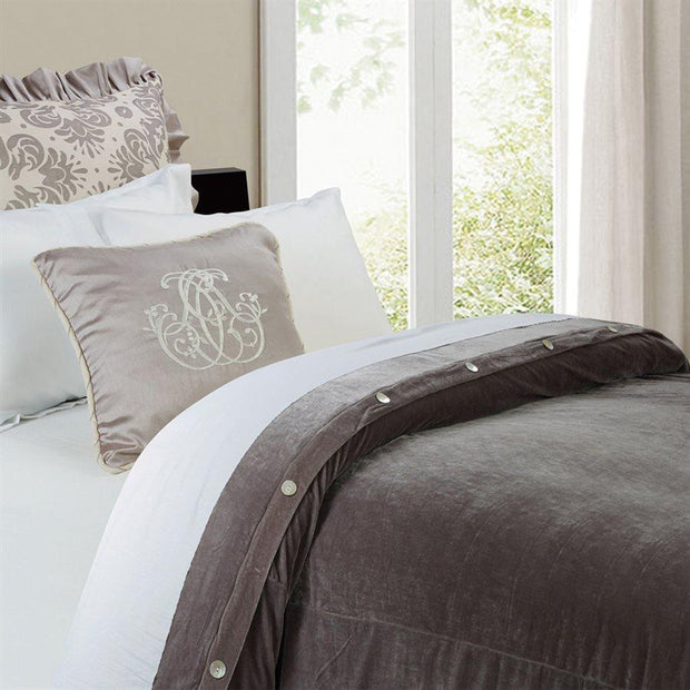Grey Velvet Duvet Cover (Super King/Queen)