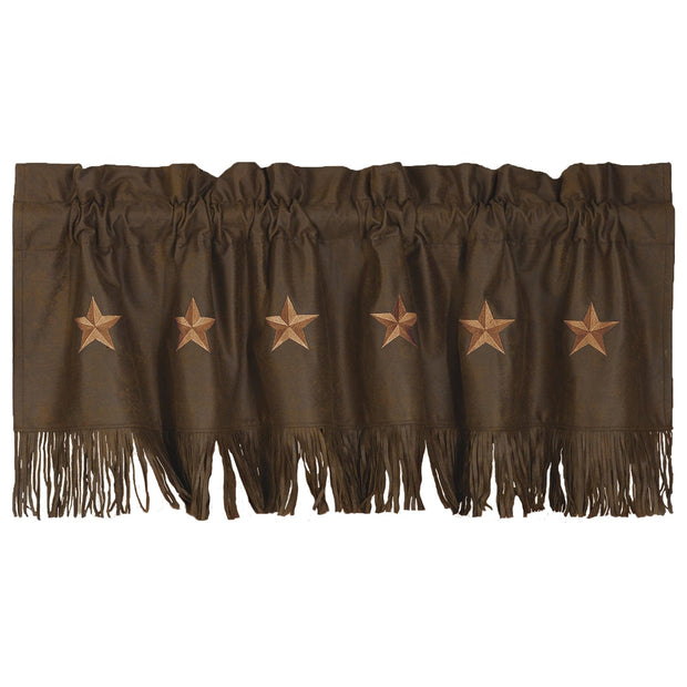 Laredo Chocolate Star Faux Leather Kitchen Valance